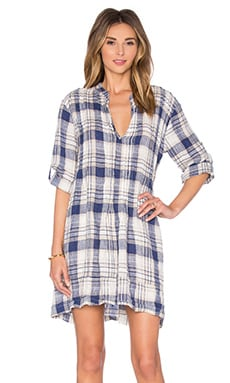 Regina Tunic Dress en Carreaux Bleu & Beige