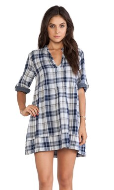 CP SHADES Regina Plaid Tunic Dress in Blue