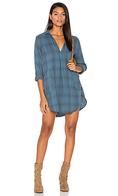 Teton Plaid Button Up Dress in Slate