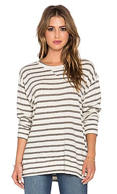 CP SHADES Palm Striped Sweatshirt in Heather Grey