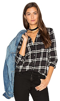 Sloane Flannel Button Up in Black & White
