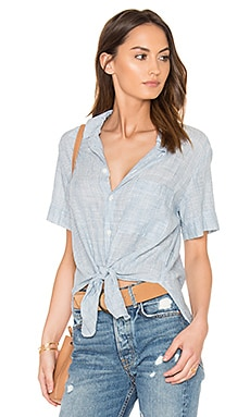 Georgia Tie Up Shirt in Blue Pinstripe