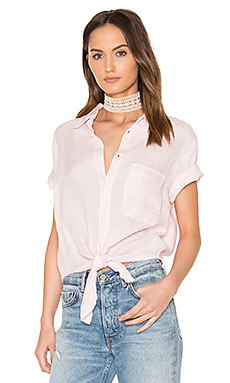 Georgia Tie Up Shirt in Pink Chambray