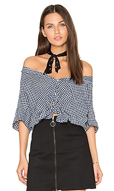 Georgia Front Tie Top in Navy Gingham