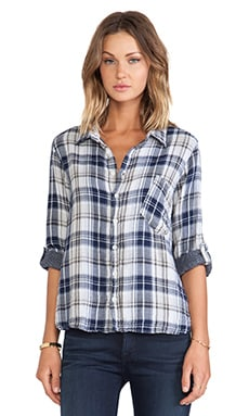 CP SHADES Jay Plaid Shirt in Navy & White