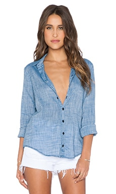 CP SHADES Romy Button Up Top in Faded Denim
