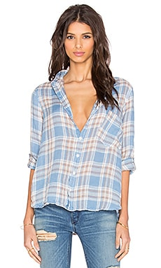 CP SHADES Jay Plaid Button Up in Light Blue Wash