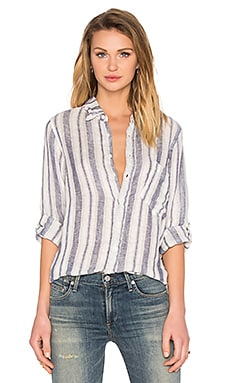 Jay Button Up Shirt in Navy Stripe