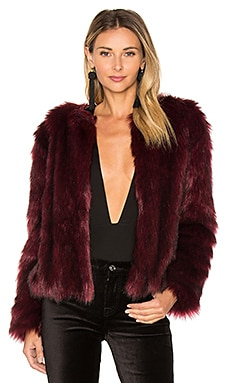 Snyder Faux Fur Jacket in Merlot