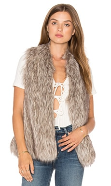 Rosette Faux Fur Vest en Naturel