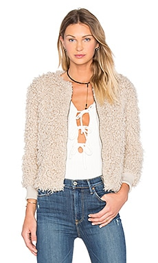 Jessica Faux Fur Jacket in Taupe