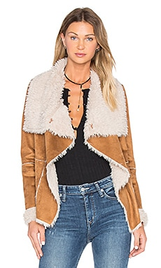 cupcakes and cashmere Lesya Jacket with Faux Fur in Brown
