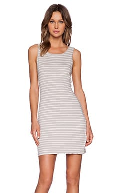 Current/Elliott The Louella Tank Dress in Grey & White Stripe
