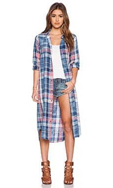 Current/Elliott The Long Shirt Dress in Mericana Plaid