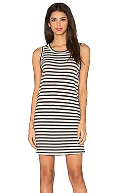 Current/Elliott The Muscle Tee Dress in Cream & Black Distressed Stripe