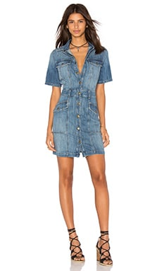 Current/Elliott The Trucker Shirt Dress in Blue Ocean