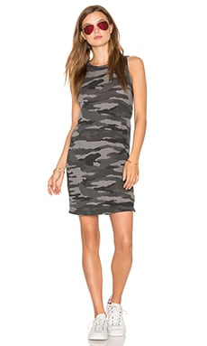 Current/Elliott The Muscle Tee Dress in Distressed Black Camo