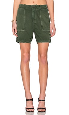 Current/Elliott The Industrial Trouser Short in Dark Olive Destroy
