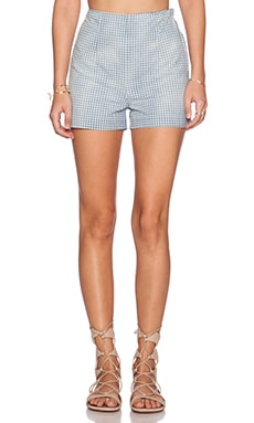 Current/Elliott The High Waist Prep Short in Blue & White Gingham
