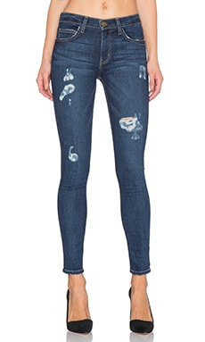 Current/Elliott The High Waist Ankle Skinny in Indigo Dusk Destroy