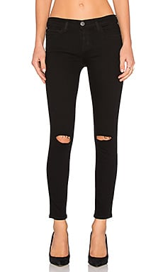 Current/Elliott The Stiletto in Jet Black Knee Destroy