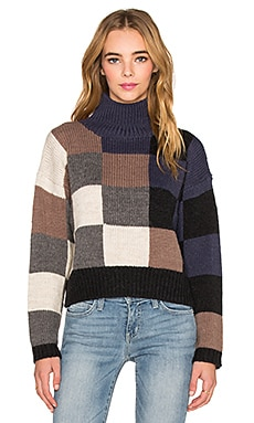 Current/Elliott The Boxy Mock Neck Sweater in Checkered Shades