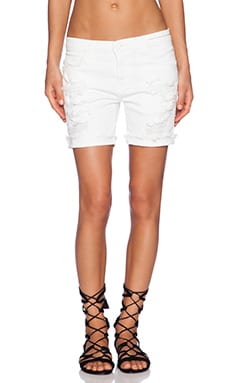 Current/Elliott The Slouchy Cut Off in White Tattered
