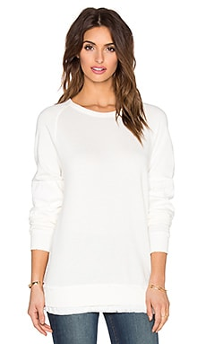 Current/Elliott The Patch Oversized Sweatshirt in Dirty White