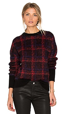 The Plaid Crew Neck Sweater in Red and Black Blurred Plaid