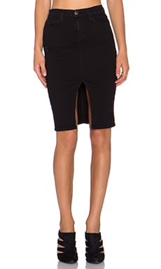 Current/Elliott High Waist Pencil Skirt in Jet Black Destroy