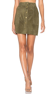 Current/Elliott The Leather Naval Skirt in Green