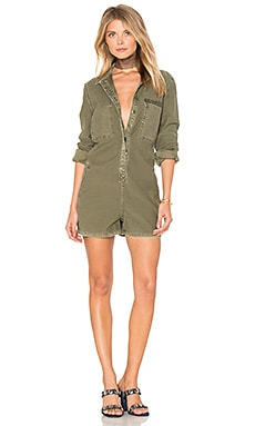 The Reversed Military Romper in Army Green