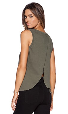 Current/Elliott The Cross Back Muscle Tee in Army Green
