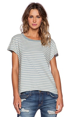 Current/Elliott The Crew Neck Tee in Dock Indigo Stripe