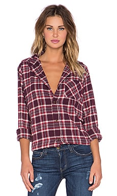 Current/Elliott The Prep School Shirt in Cranberry Plaid