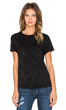 Current/Elliott The Rolled Sleeve Tee in Black Splatter