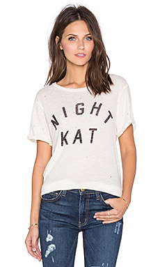 Current/Elliott The Rolled Sleeve Graphic Tee in Vintage White Night Kat