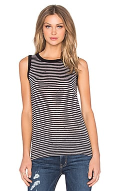 Current/Elliott The Muscle Tank in Black Broken Stripe