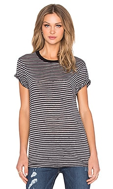 Current/Elliott The Boyfriend Tee in Black Broken Stripe