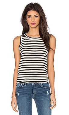 The Muscle Tee in Cream & Black Distressed Stripe