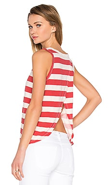 Current/Elliott The Cross Back Muscle Tank in Red Boating Stripe