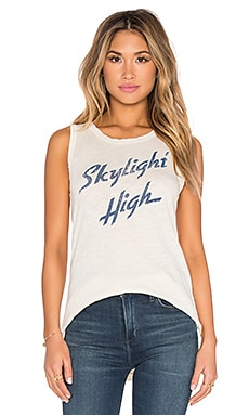 Current/Elliott The Muscle Graphic Tee in Skylight High Destroy