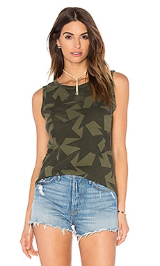 Current/Elliott The Muscle Tee in Army Green Starsruck