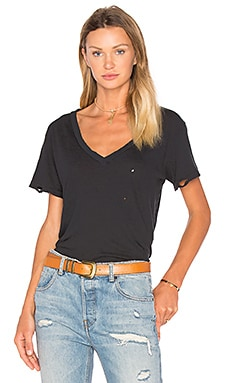 The V Neck Distressed Tee in Black Beauty All Torn Up