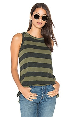 Current/Elliott The Muscle Tee in Army Green Loco Stripe