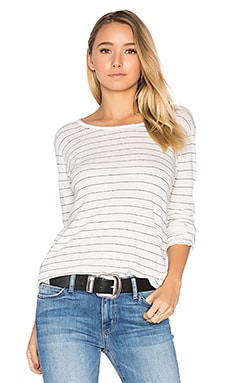 The Long Sleeve Boyfriend Tee in Dirty White Runaway Stripe