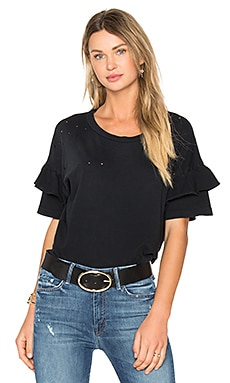 The Ruffle Roadie Top in Washed Black
