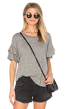 The Ruffle Roadie Top in Heather Grey