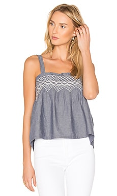 The Smocked Tank in Chambray & Off White