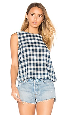 The Boxy Cropped Tank in Blue Wing Teal Check